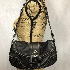 LN Coach Black Leather Handbag